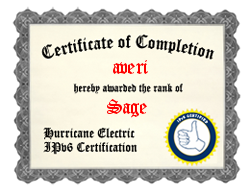 Hurricane Electrics IPv6 Certification
