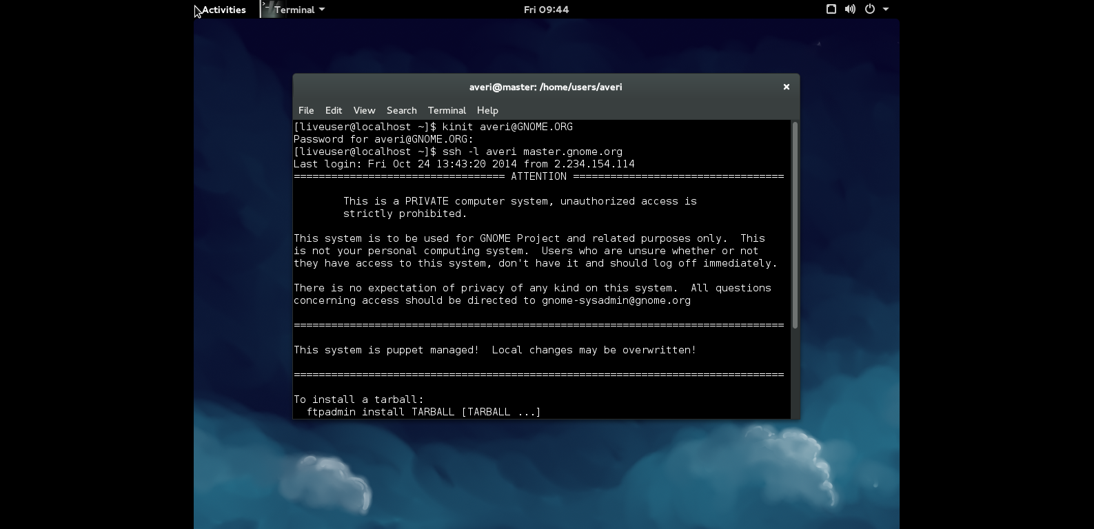 A successful SSH login using the most recent Kerberos package on Fedora 21